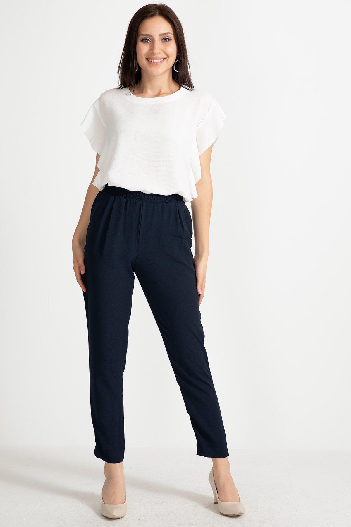 Straight Pants-Dark Blue