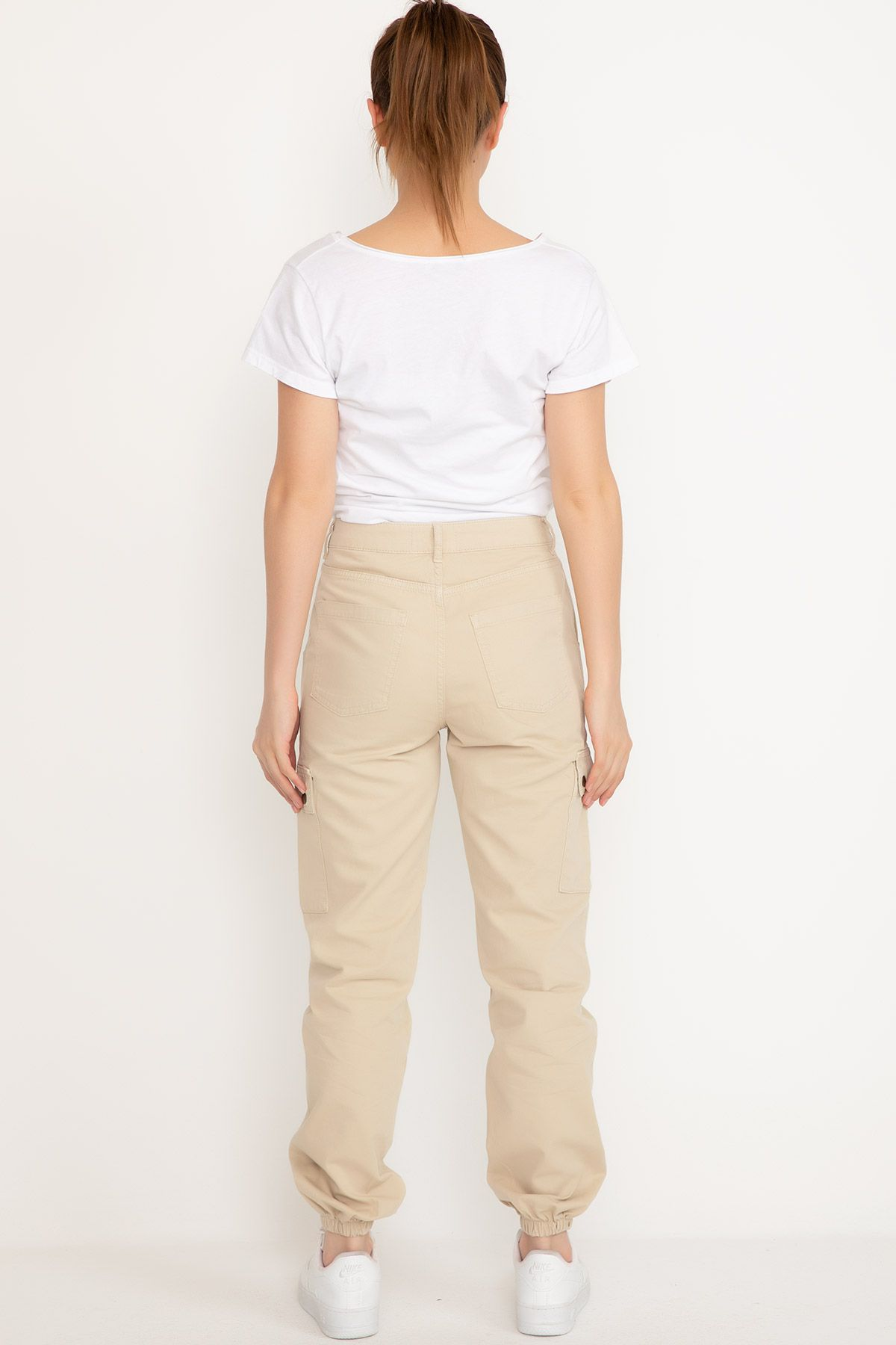 Straight Pants-Beige