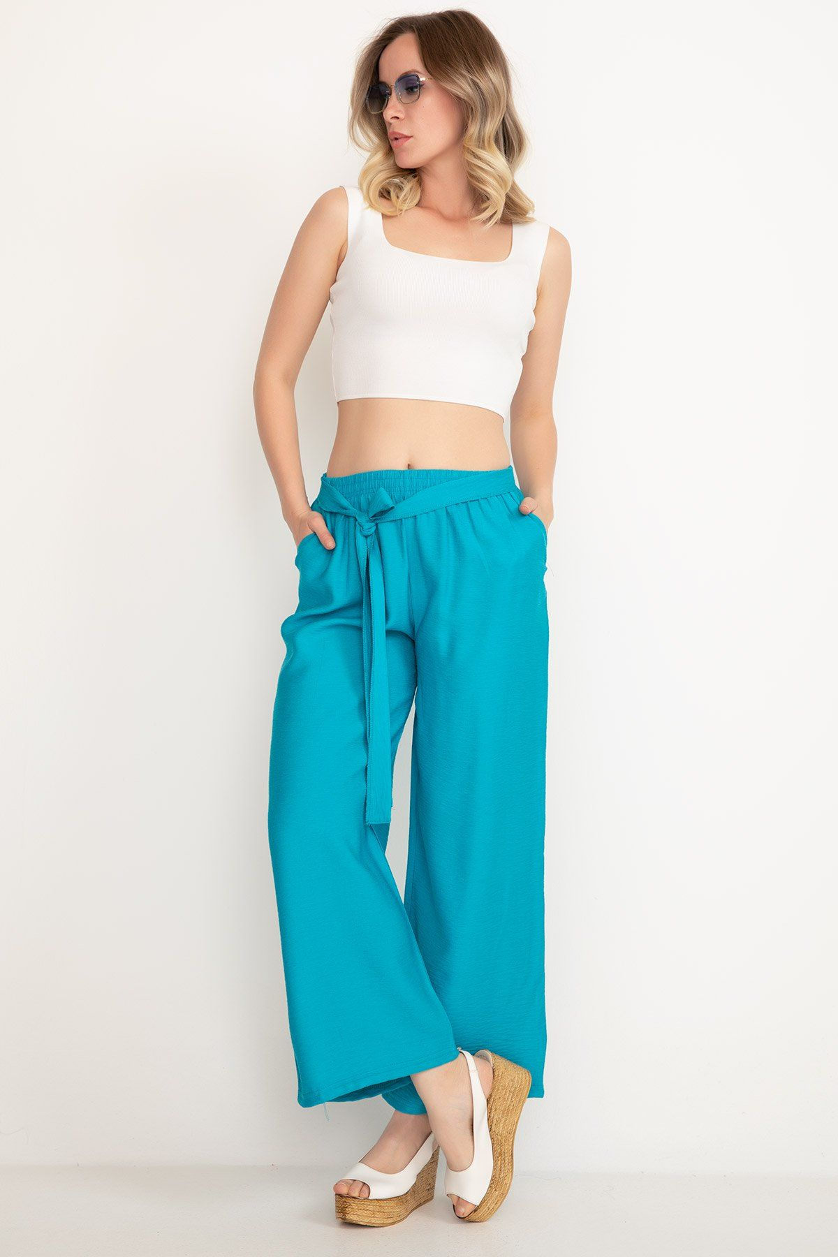 Boot Cut Pants-Blue