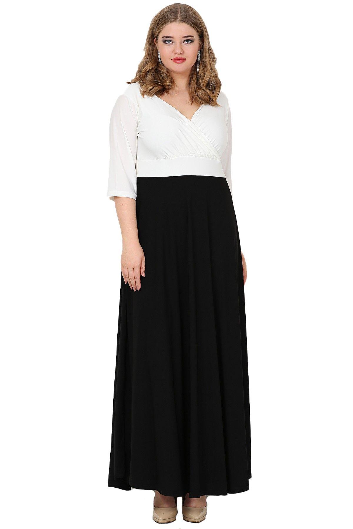 Evening Dress-Black-White