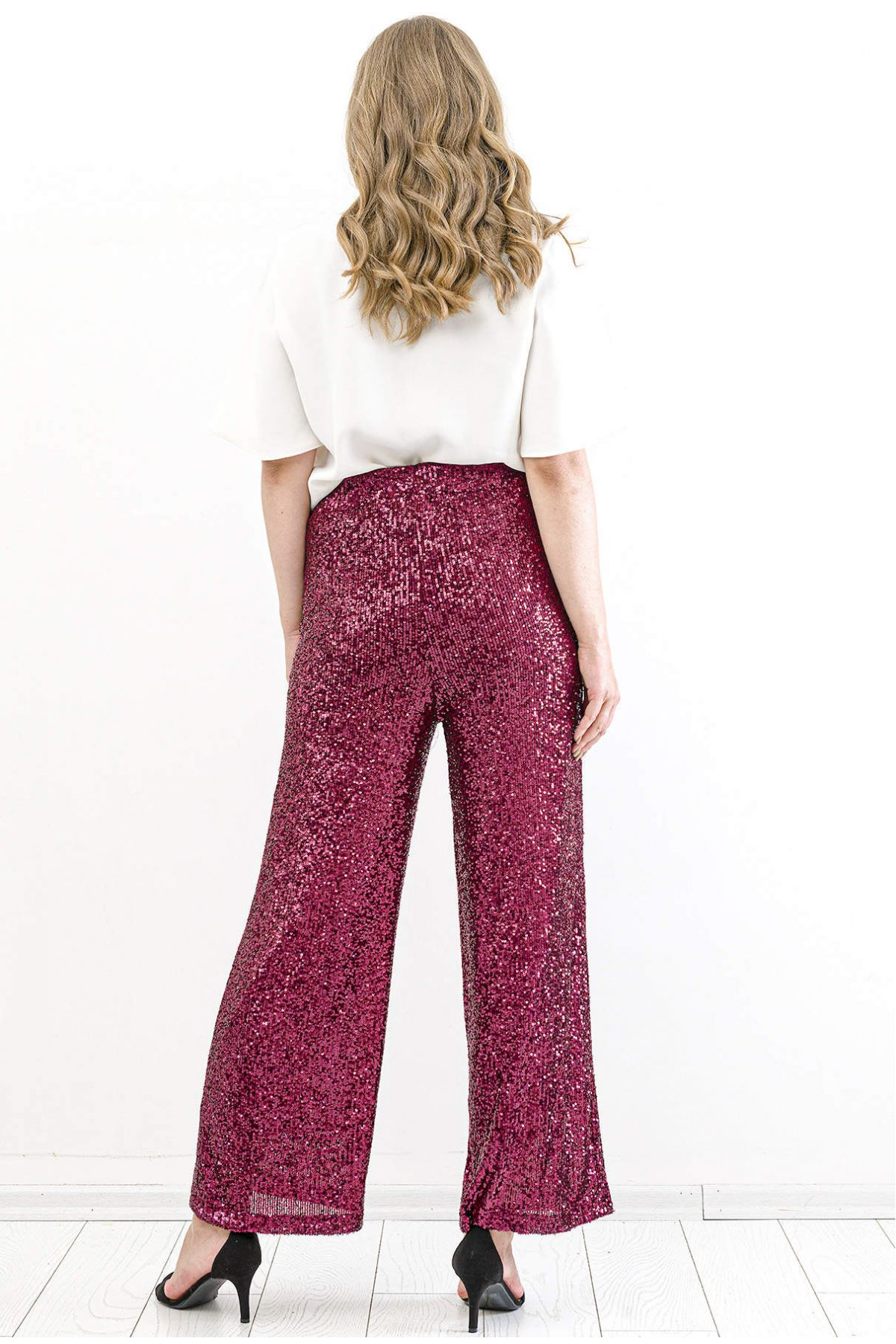 Boot Cut Pants-Claret Red