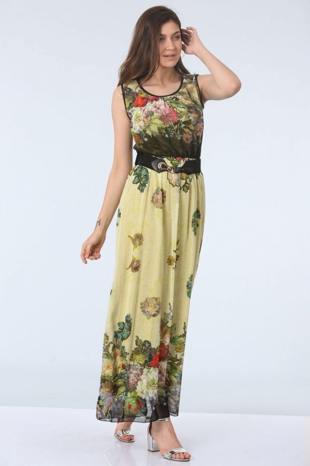 Day Dresses Long-olive-drab