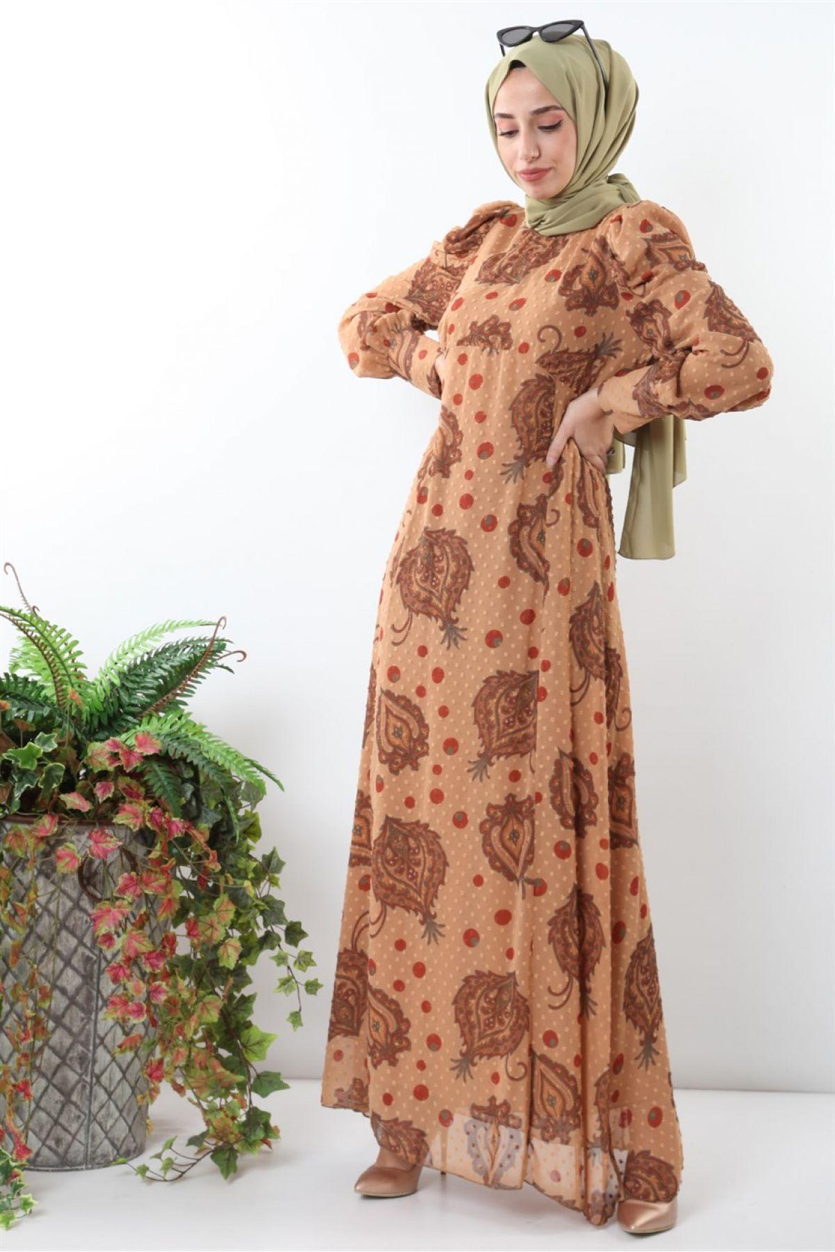 Casual Long Dresses-Light Brown