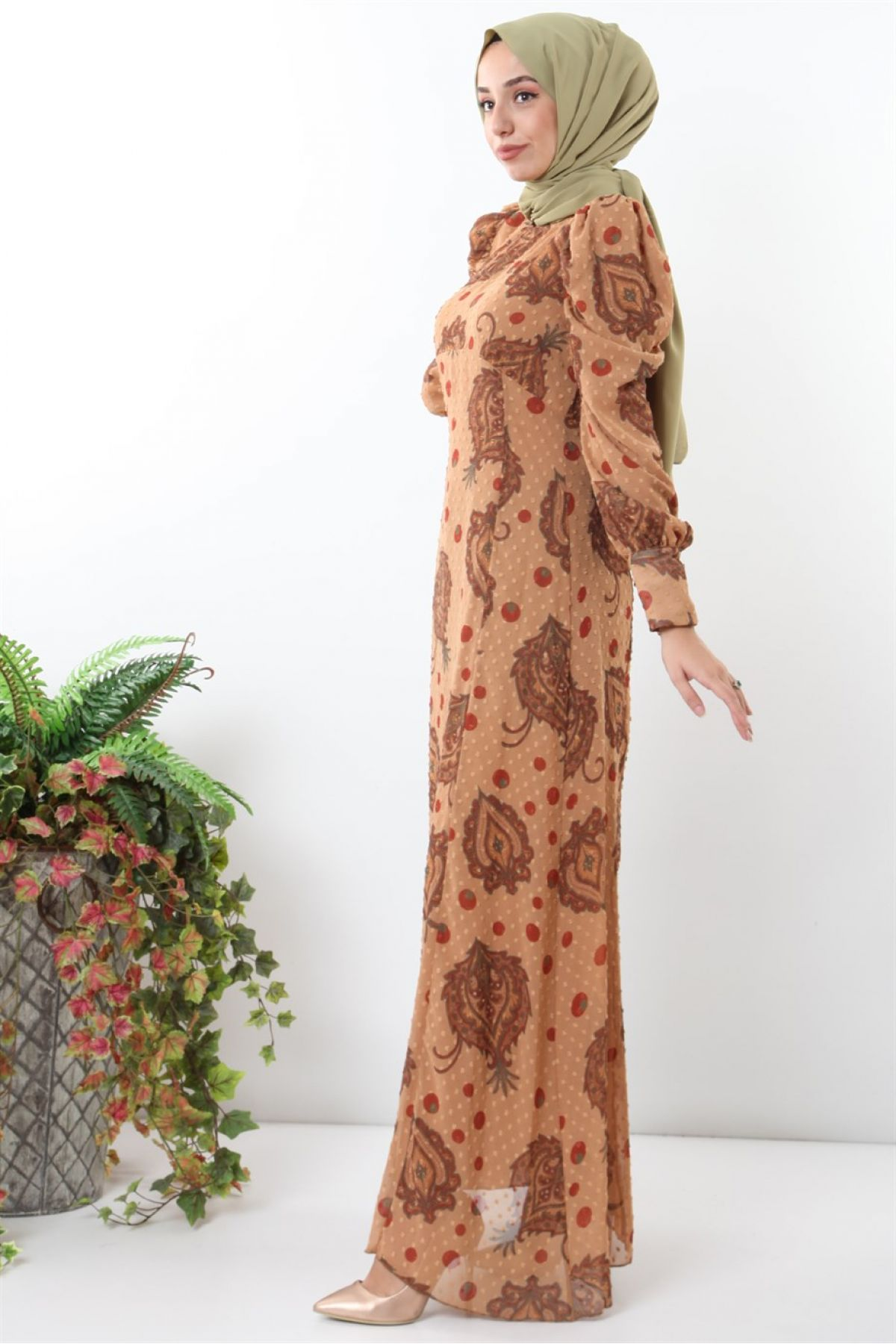Casual Long Dresses-Light Brown