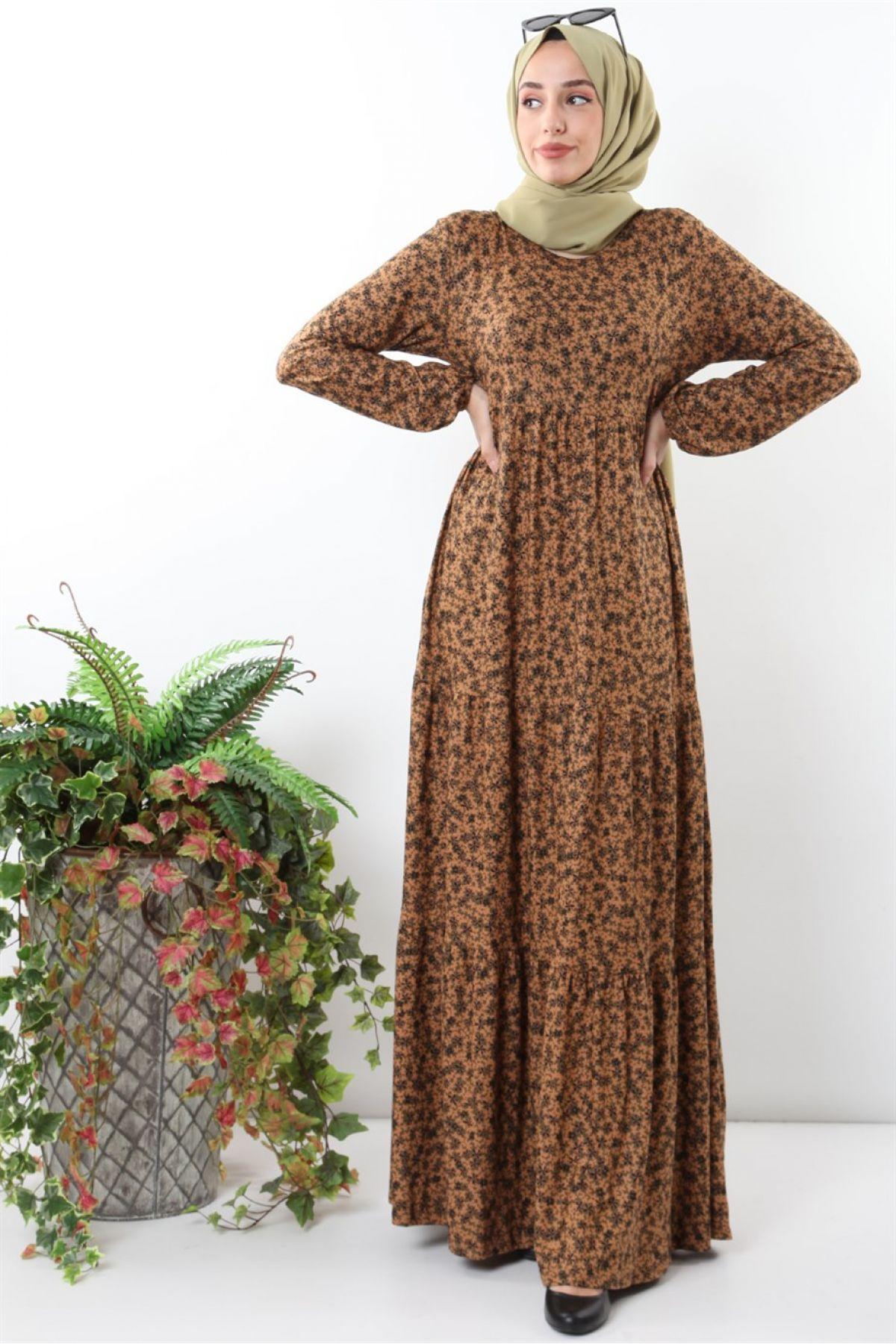 Casual Long Dresses-Brown
