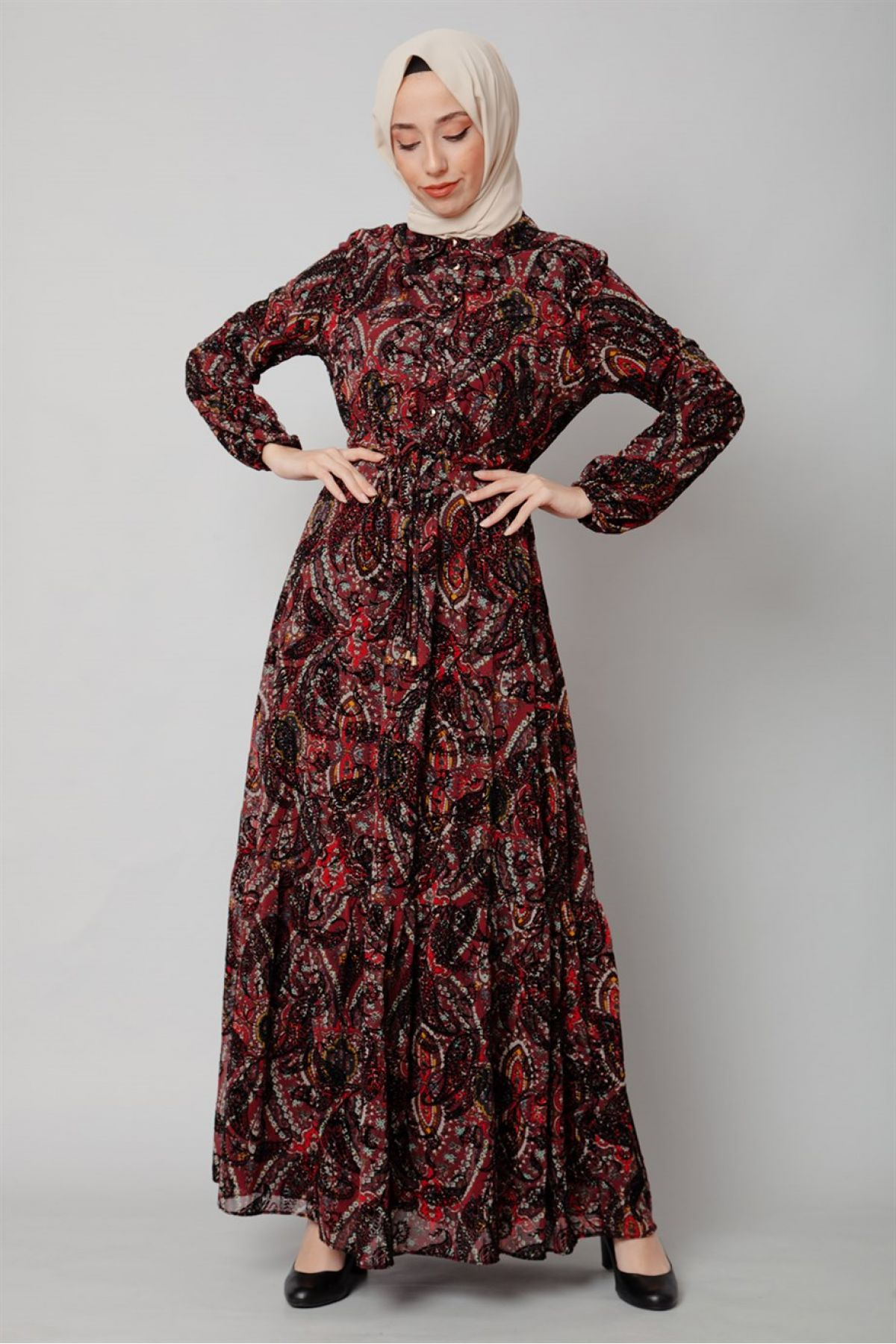 Casual Long Dresses-Claret Red