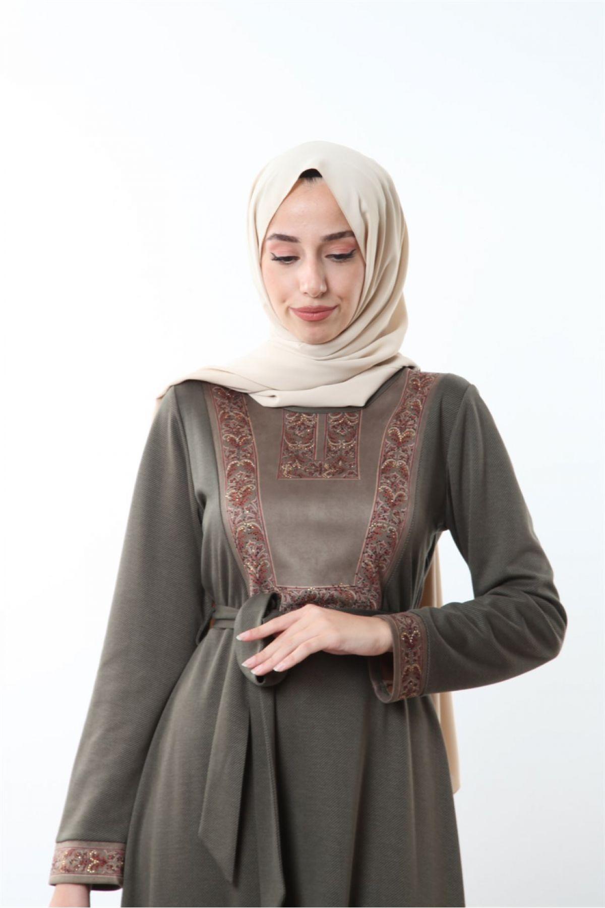 Casual Long Dresses-Khaki