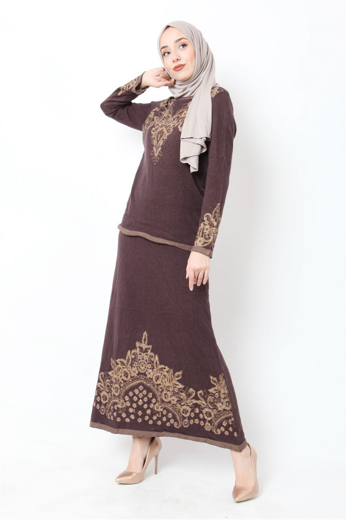 Skirt and Blouse-Light Brown