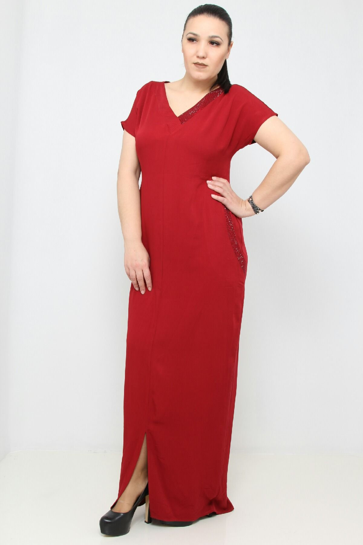 Day Dresses Long-Claret Red