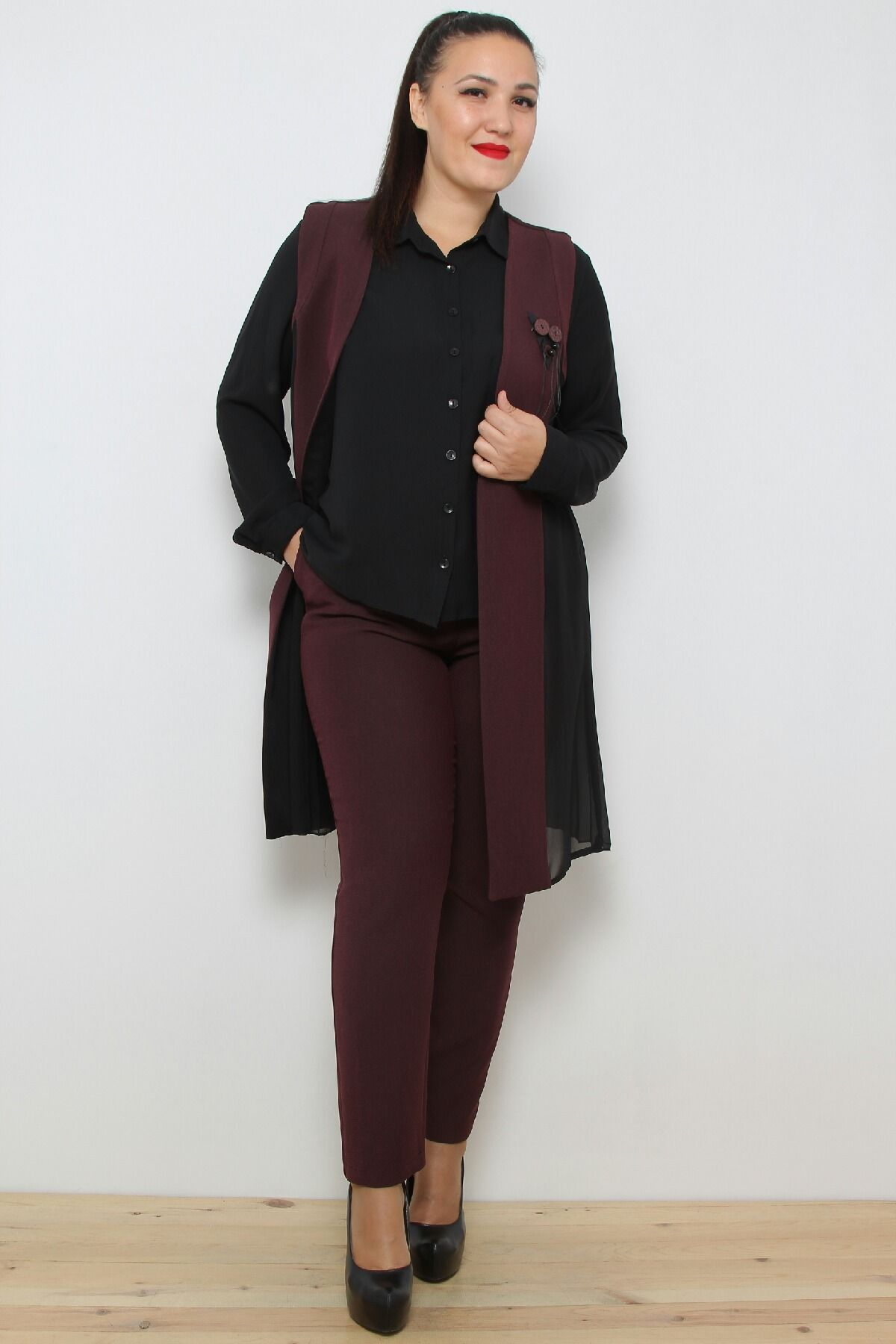 Two-Piece Suit-Claret Red