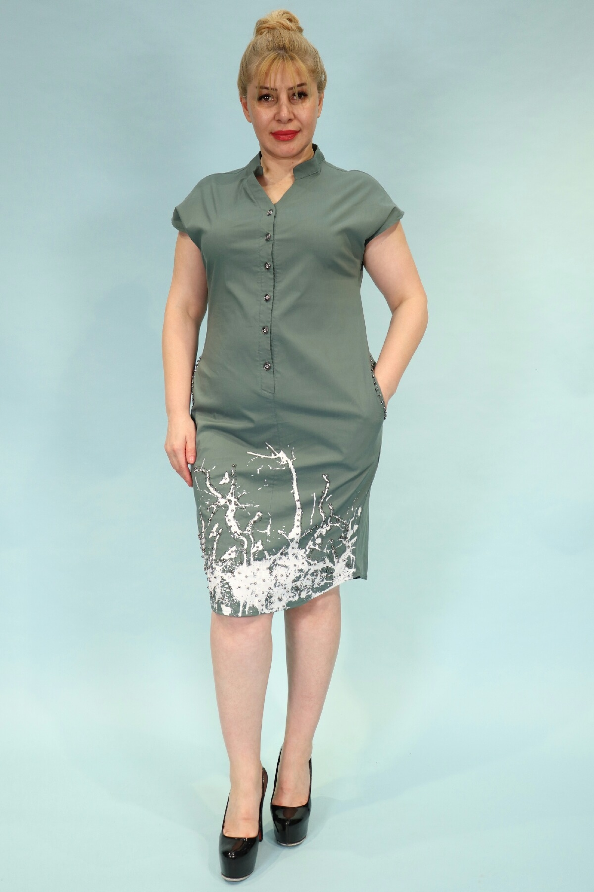 Day Dresses Medium-Petrol Green