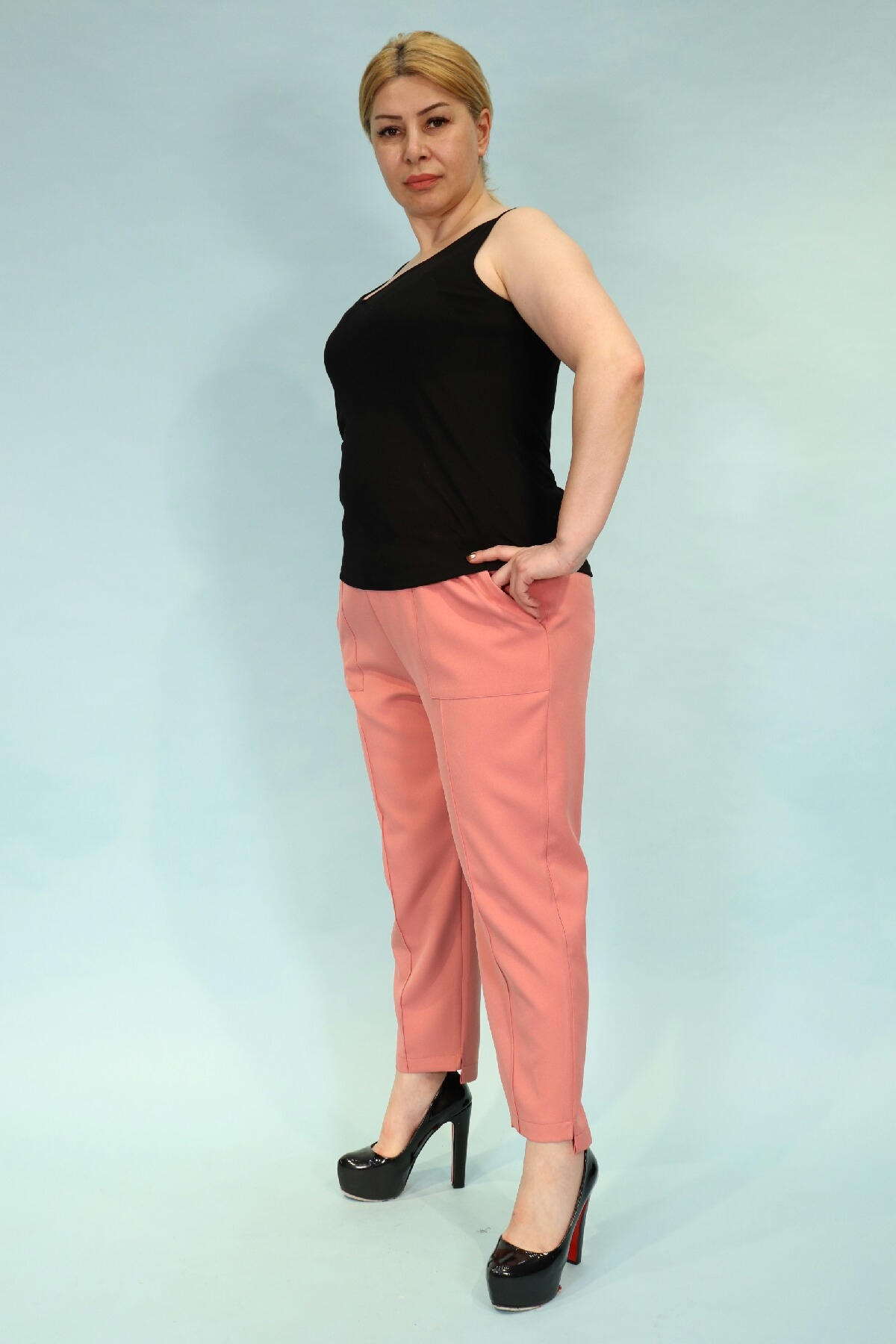 Straight Pants-powder pink