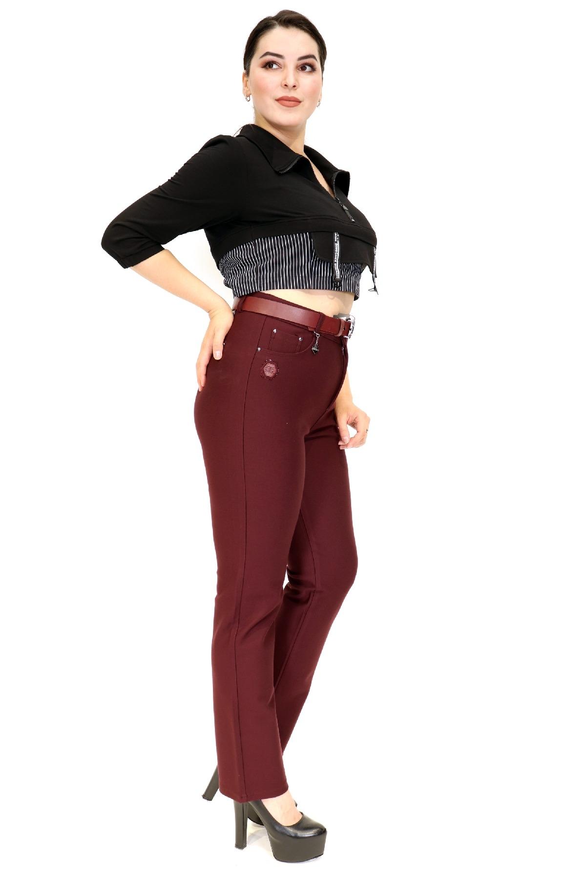 women pants-Claret Red