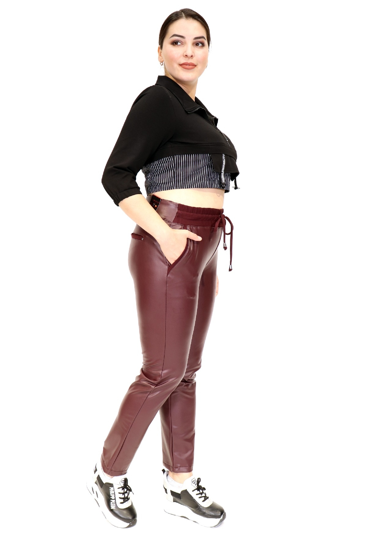 women pants-Claret Red