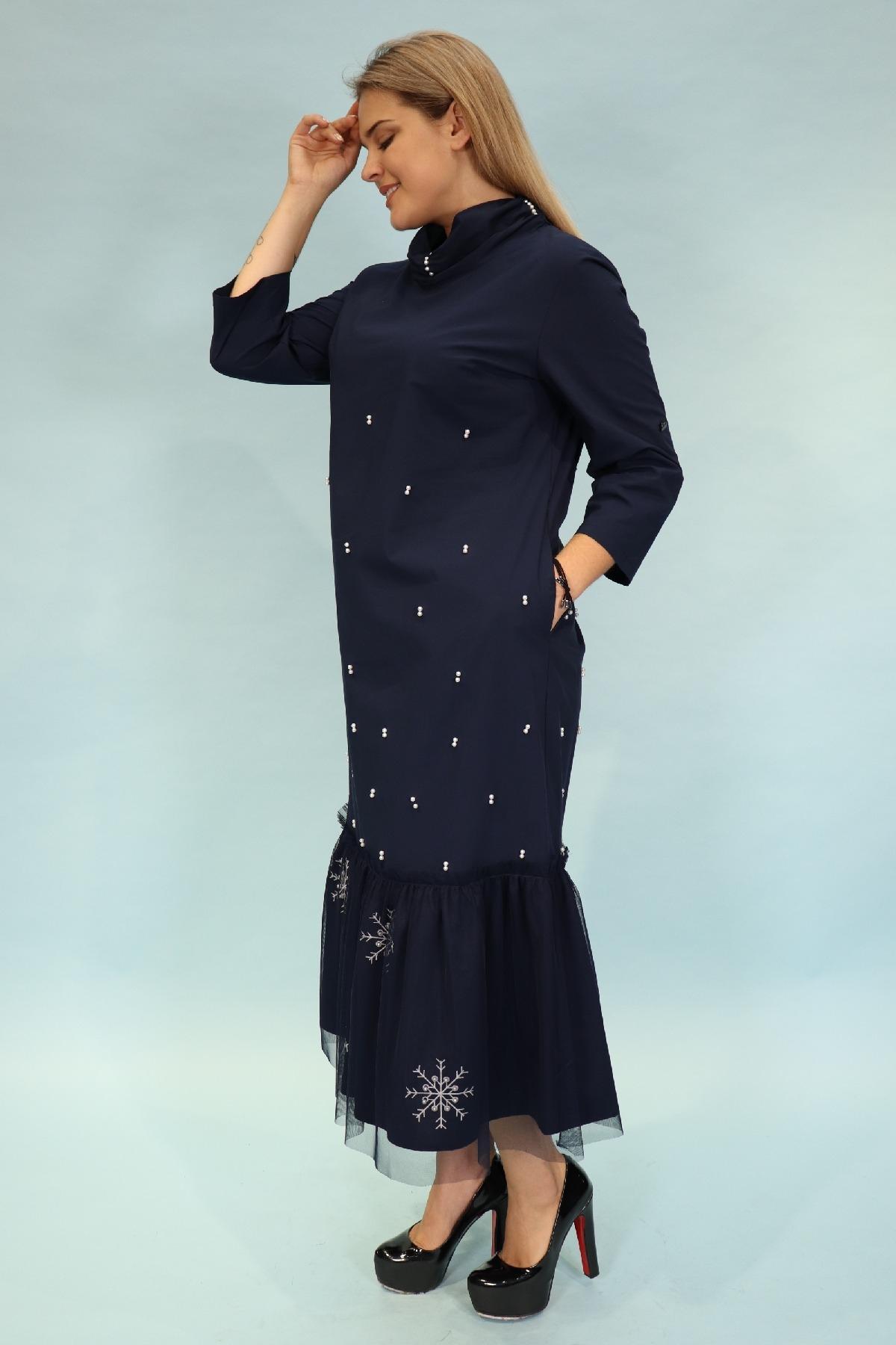 Day Dresses Long-Dark Blue