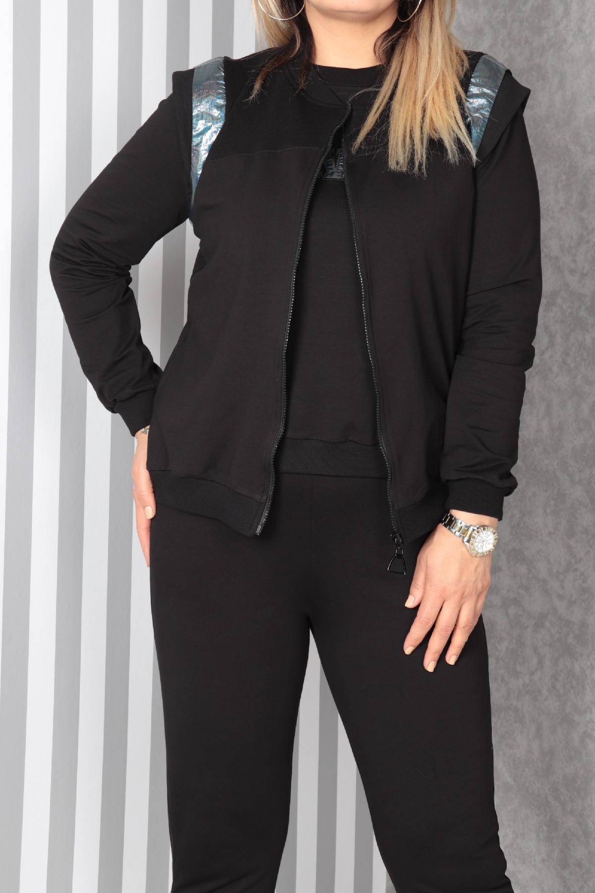 Women's 3 Piece Suits-Black