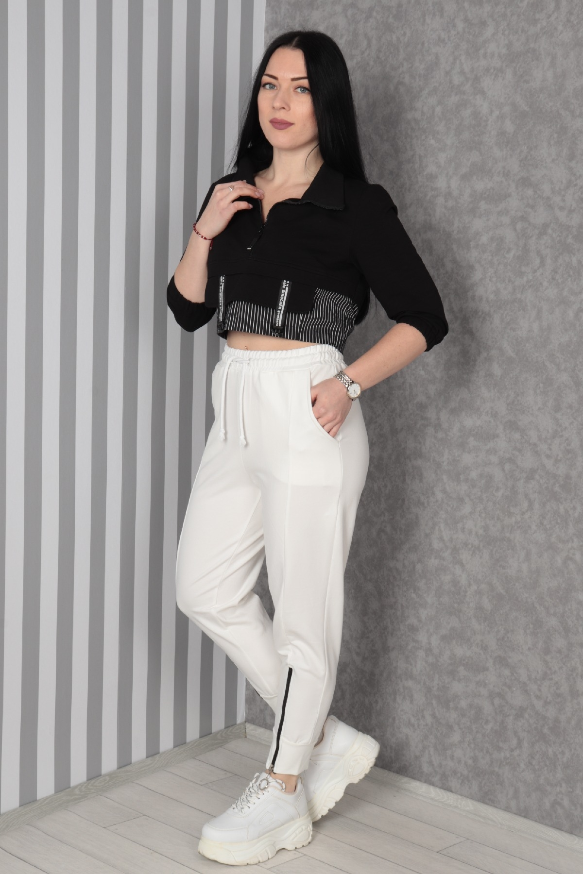women pants-Ecru