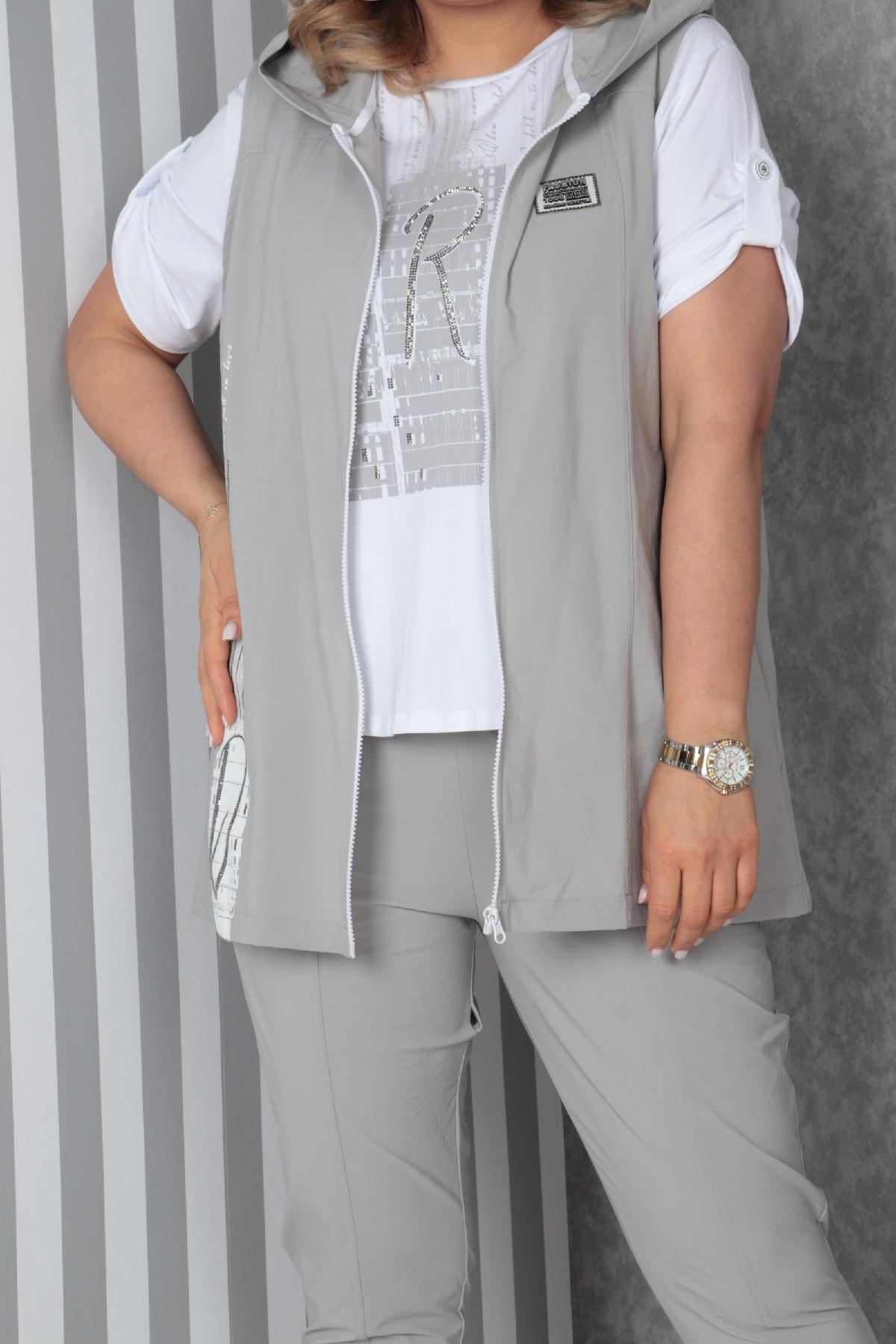 Women's 3 Piece Suits-Light Grey
