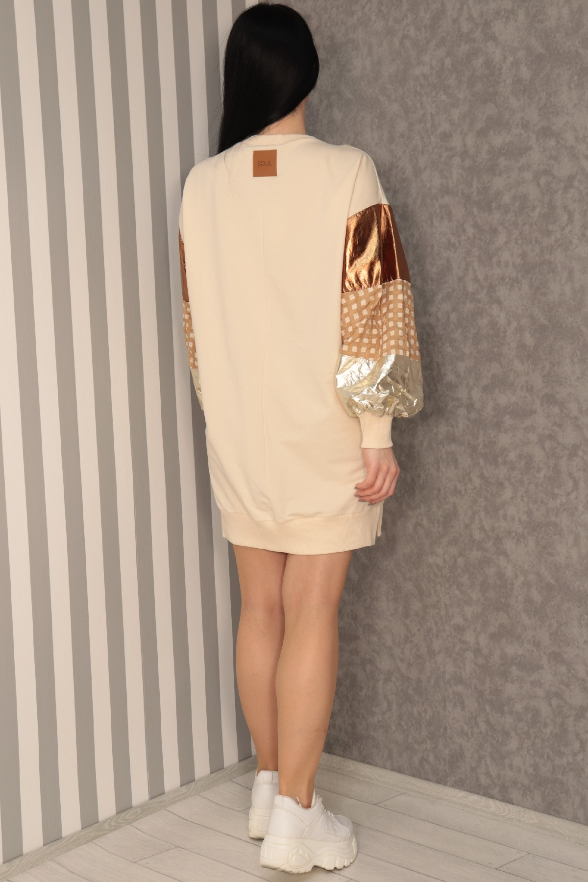 Casual Short Dresses-Beige