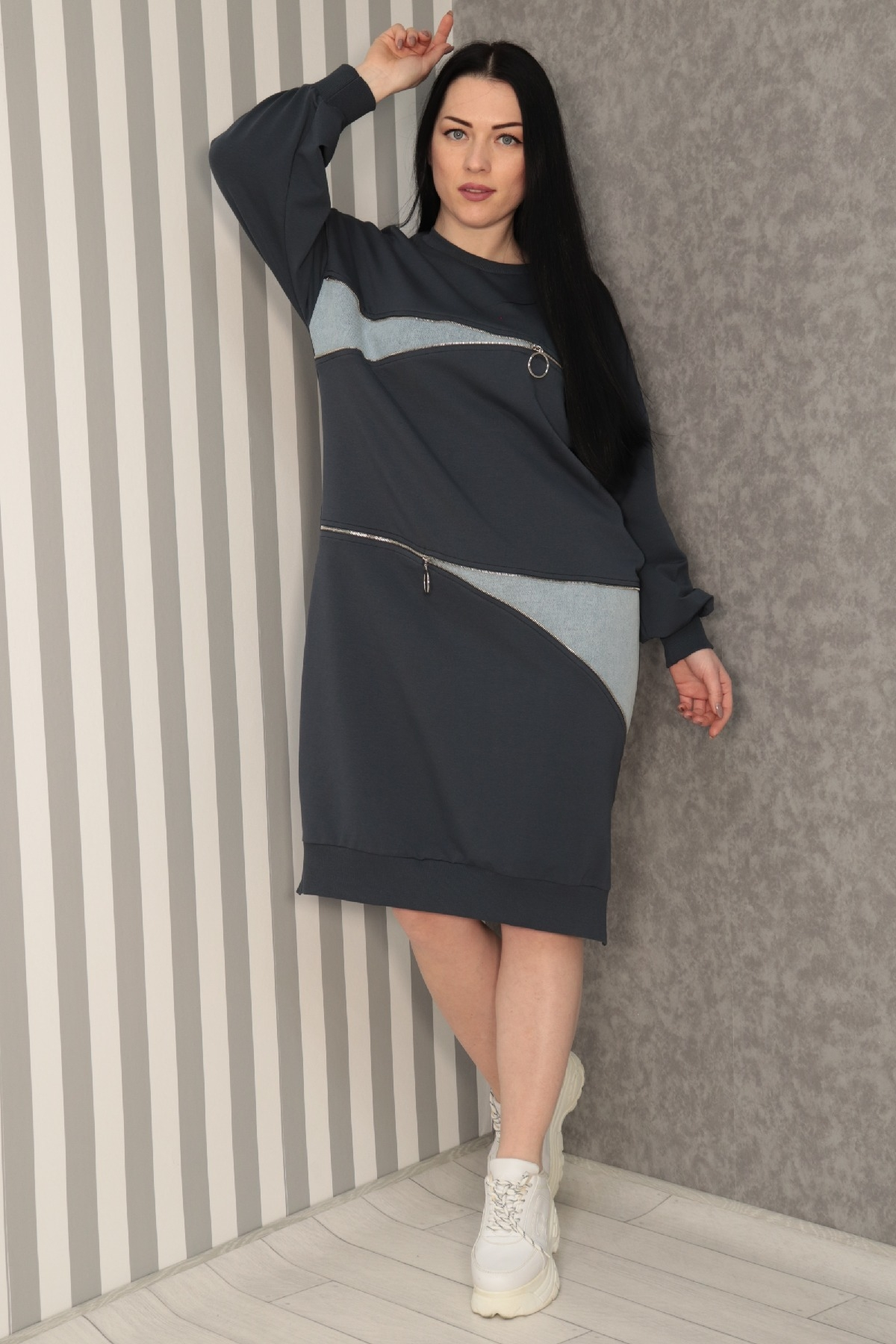 Casual Short Dresses-Grey