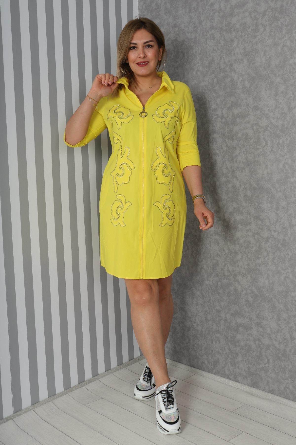 Casual Short Dresses-Yellow