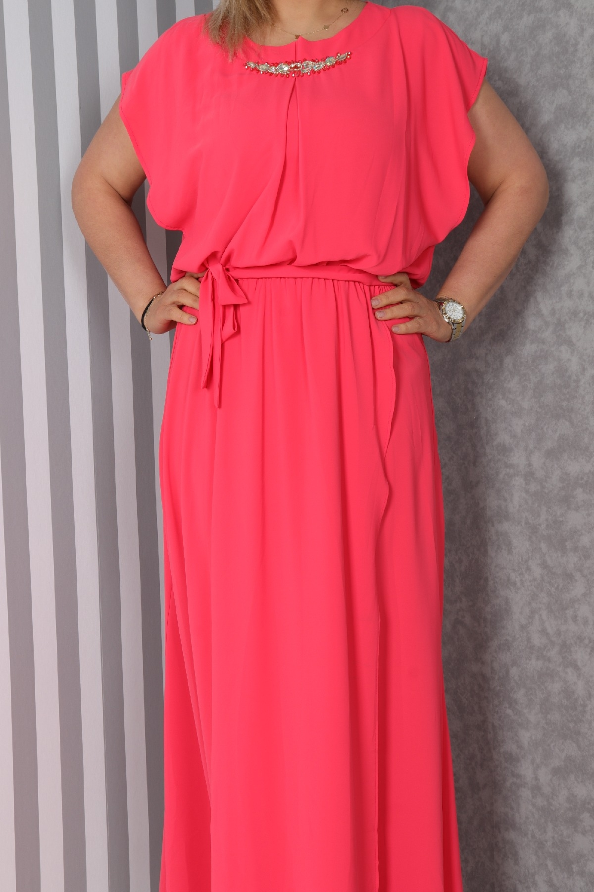 Casual Long Dresses-Coral