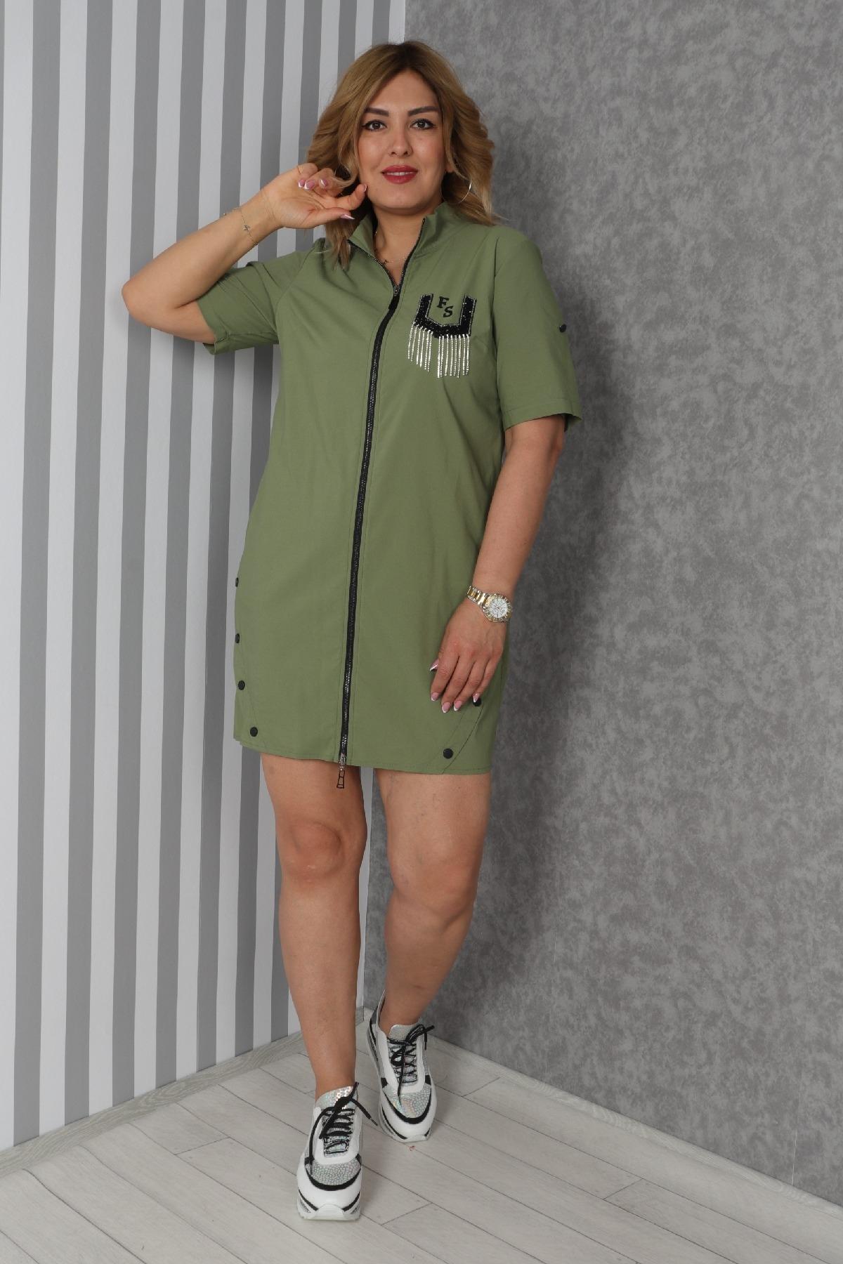 Casual Short Dresses-Khaki