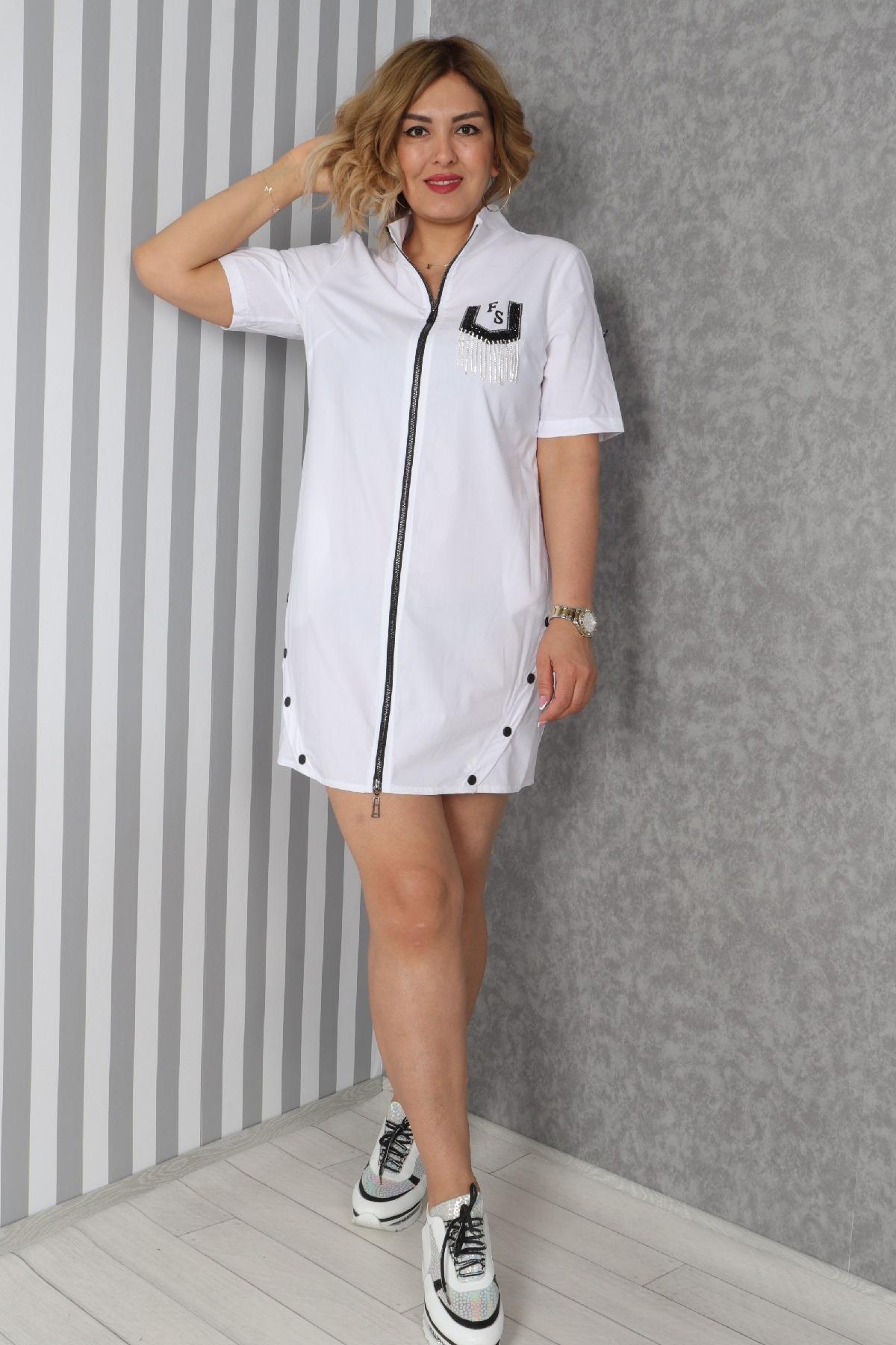 Casual Short Dresses-White